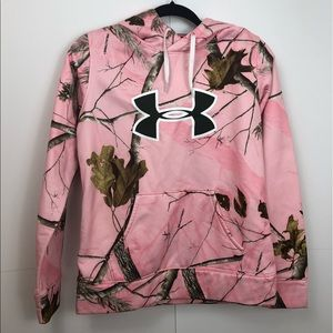 Under armor unique hoodie pink with nature print